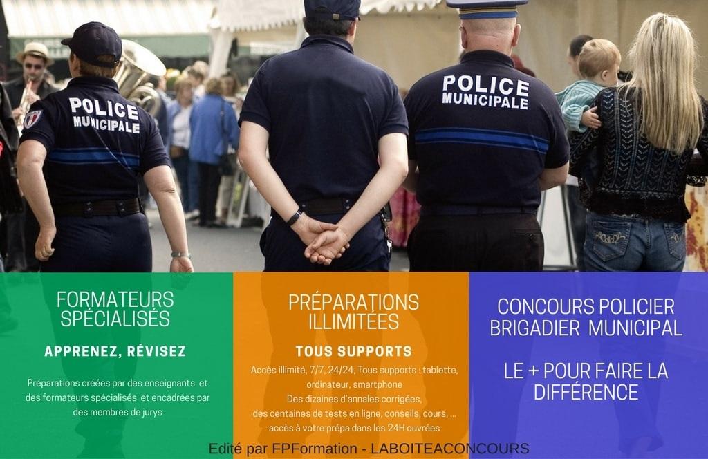 formation concours policier brigadier municipal